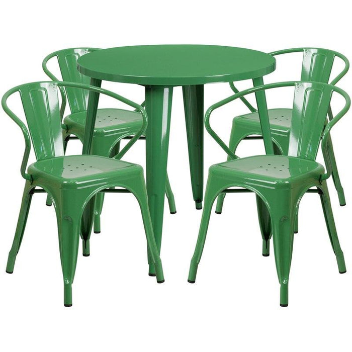 Flash Furniture CH-51090TH-4-18ARM-GN-GG 30'' Round Green Metal Indoor-Outdoor Table Set with 4 Arm Chairs
