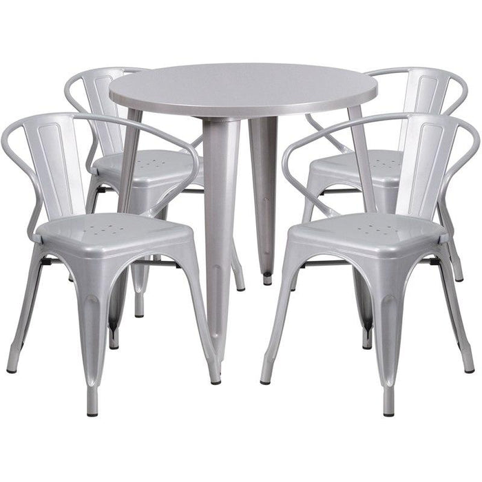 Flash Furniture CH-51090TH-4-18ARM-SIL-GG 30'' Round Silver Metal Indoor-Outdoor Table Set with 4 Arm Chairs