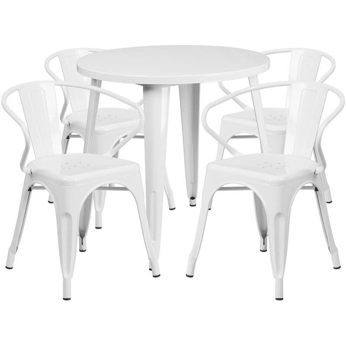 Flash Furniture CH-51090TH-4-18ARM-WH-GG 30'' Round White Metal Indoor-Outdoor Table Set with 4 Arm Chairs