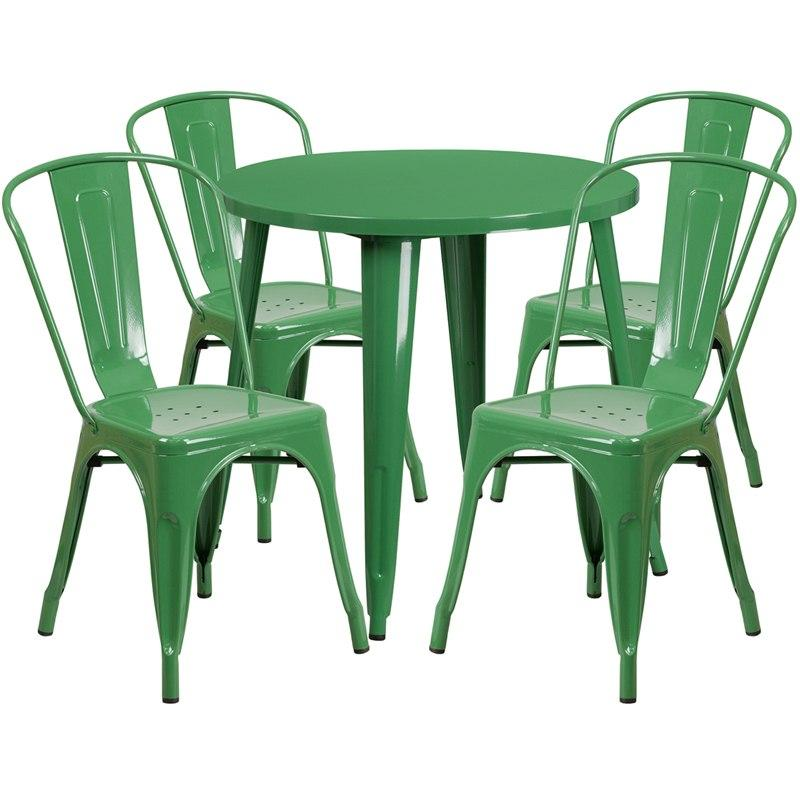 Flash Furniture CH-51090TH-4-18CAFE-GN-GG 30'' Round Green Metal Indoor-Outdoor Table Set with 4 Cafe Chairs