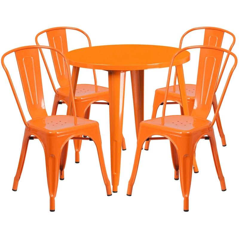 Flash Furniture CH-51090TH-4-18CAFE-OR-GG 30'' Round Orange Metal Indoor-Outdoor Table Set with 4 Cafe Chairs