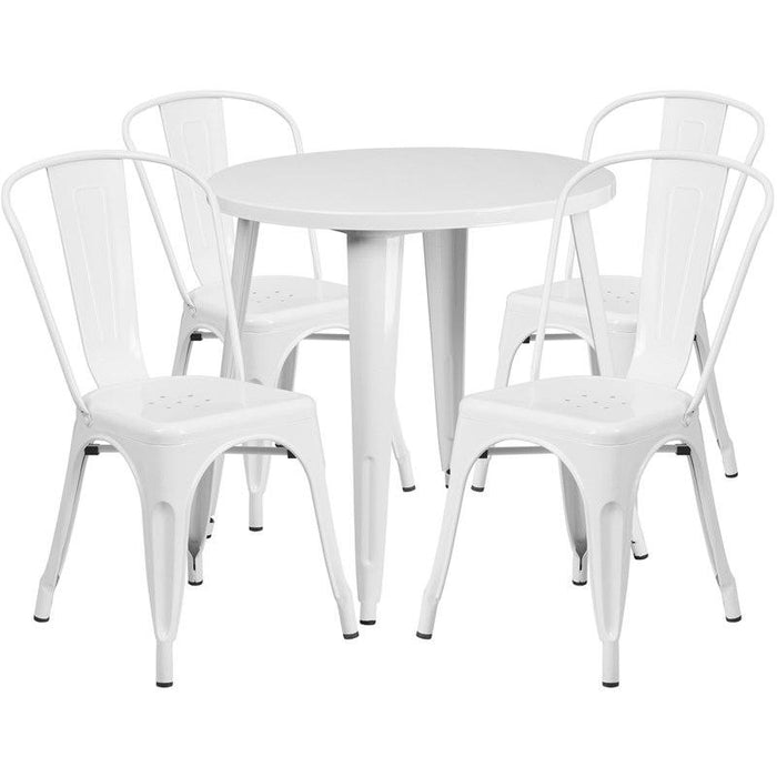 Flash Furniture CH-51090TH-4-18CAFE-WH-GG 30'' Round White Metal Indoor-Outdoor Table Set with 4 Cafe Chairs