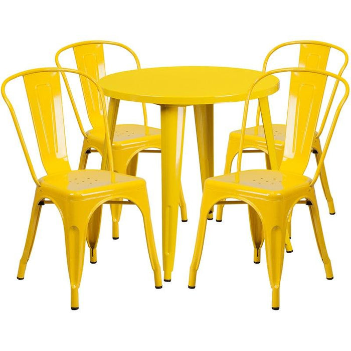 Flash Furniture CH-51090TH-4-18CAFE-YL-GG 30'' Round Yellow Metal Indoor-Outdoor Table Set with 4 Cafe Chairs