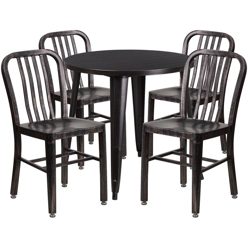 Flash Furniture CH-51090TH-4-18VRT-BQ-GG 30'' Round Black-Antique Gold Metal Indoor-Outdoor Table Set with 4 Vertical Slat Back Chairs