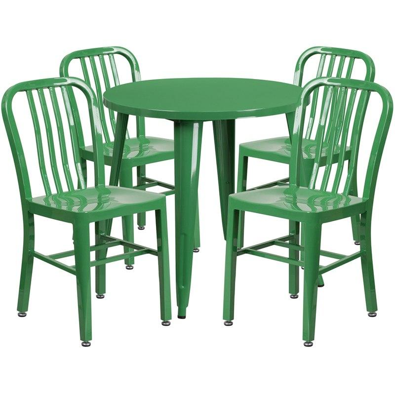 Flash Furniture CH-51090TH-4-18VRT-GN-GG 30'' Round Green Metal Indoor-Outdoor Table Set with 4 Vertical Slat Back Chairs