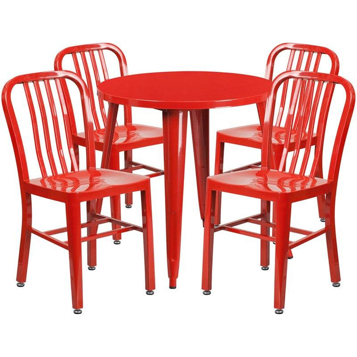 Flash Furniture CH-51090TH-4-18VRT-RED-GG 30'' Round Red Metal Indoor-Outdoor Table Set with 4 Vertical Slat Back Chairs