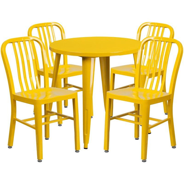 Flash Furniture CH-51090TH-4-18VRT-YL-GG 30'' Round Yellow Metal Indoor-Outdoor Table Set with 4 Vertical Slat Back Chairs