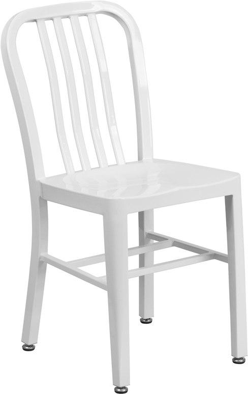 Flash Furniture CH-61200-18-WH-GG White Metal Indoor-Outdoor Chair