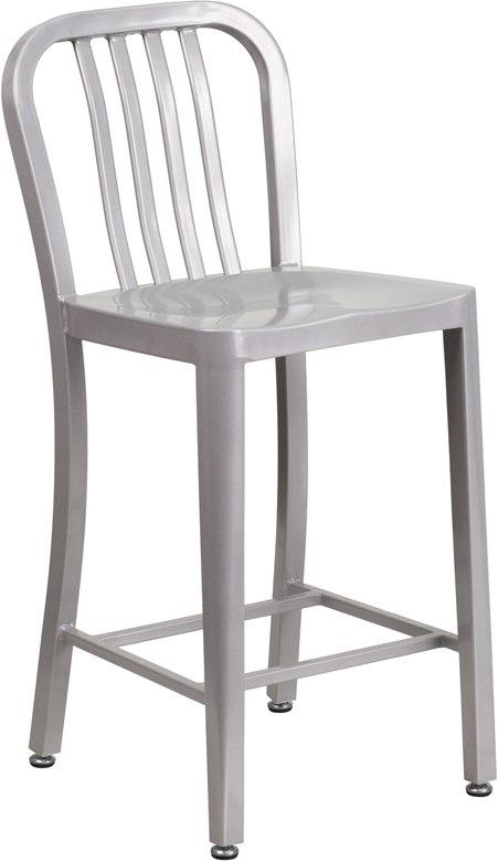 Flash Furniture CH-61200-24-SIL-GG 24'' High Silver Metal Indoor-Outdoor Counter Height Stool with Vertical Slat Back