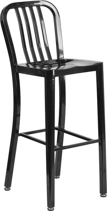Flash Furniture CH-61200-30-BK-GG 30'' High Black Metal Indoor-Outdoor Barstool with Vertical Slat Back