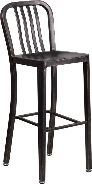 Flash Furniture CH-61200-30-BQ-GG 30'' High Black-Antique Gold Metal Indoor-Outdoor Barstool with Vertical Slat Back