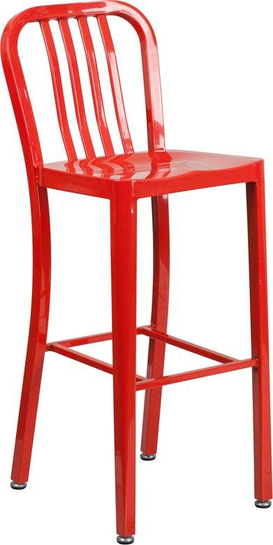 Flash Furniture CH-61200-30-RED-GG 30'' High Red Metal Indoor-Outdoor Barstool with Vertical Slat Back