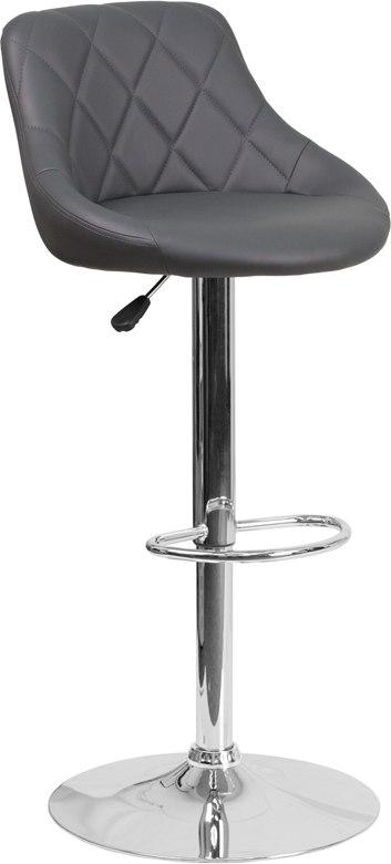 Flash Furniture CH-82028A-GY-GG Contemporary Gray Vinyl Bucket Seat Adjustable Height Barstool with Chrome Base