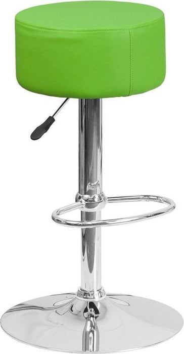 Flash Furniture CH-82056-GRN-GG Contemporary Green Vinyl Adjustable Height Barstool with Chrome Base
