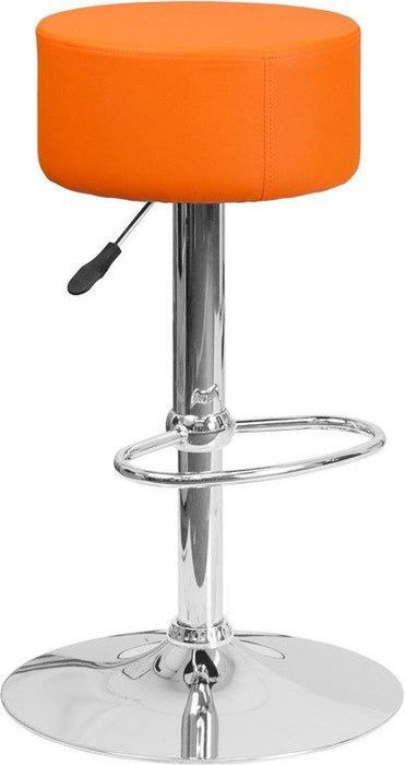 Flash Furniture CH-82056-ORG-GG Contemporary Orange Vinyl Adjustable Height Barstool with Chrome Base
