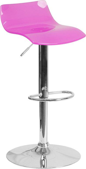 Flash Furniture CH-88005-HT-PK-GG Contemporary Transparent Hot Pink Acrylic Adjustable Height Barstool with Chrome Base