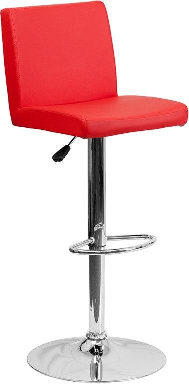 Flash Furniture CH-92066-RED-GG Contemporary Red Vinyl Adjustable Height Barstool with Chrome Base