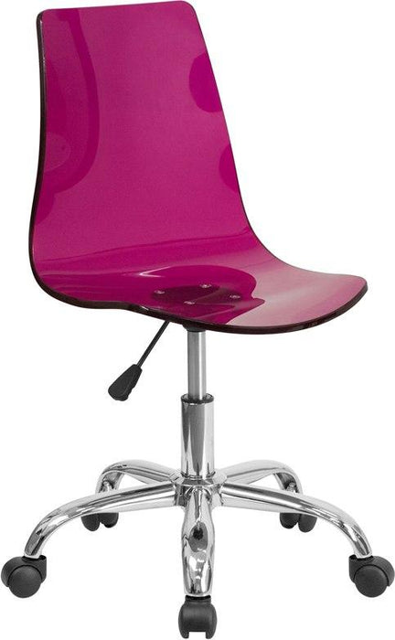 Flash Furniture CH-98018-PUR-GG Contemporary Transparent Purple Acrylic Swivel Task Chair with Chrome Base
