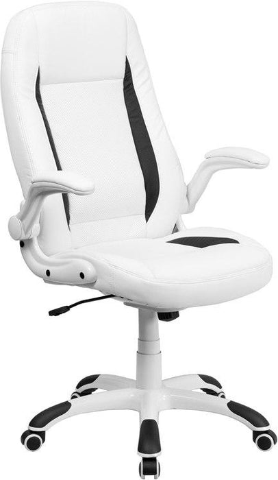 Flash Furniture CH-CX0176H06-WH-GG High Back White Leather Executive Swivel Chair with Flip-Up Arms