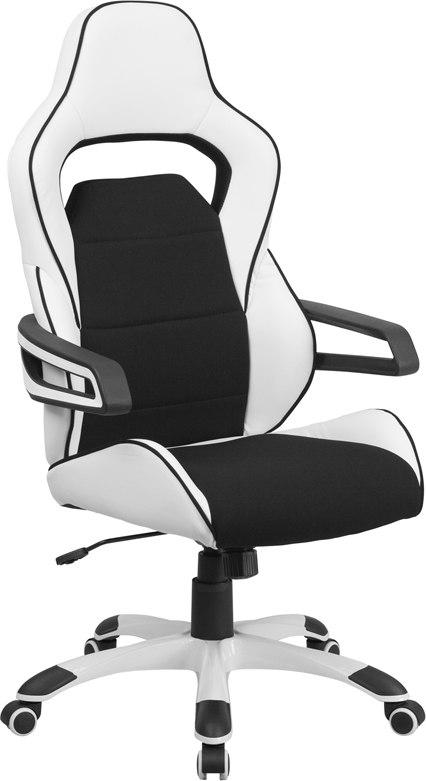Flash Furniture CH-CX0713H01-GG High Back White Vinyl Executive Swivel Chair with Black Fabric Inserts and Arms