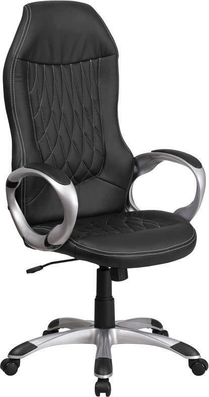 Flash Furniture CH-CX0906H-BK-GG High Back Black Vinyl Executive Swivel Chair with Arms