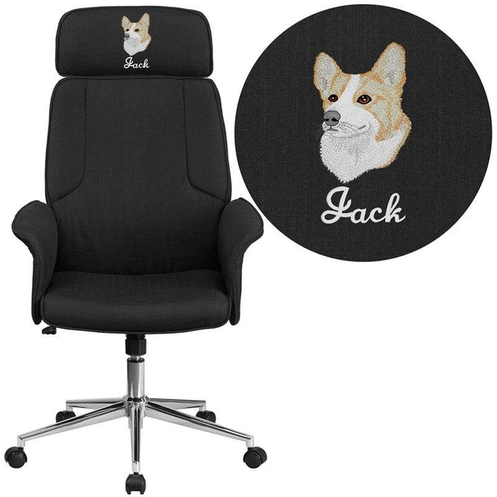 Flash Furniture CH-CX0944H-BK-EMB-GG Embroidered High Back Black Fabric Executive Swivel Chair with Chrome Base and Fully Upholstered Arms