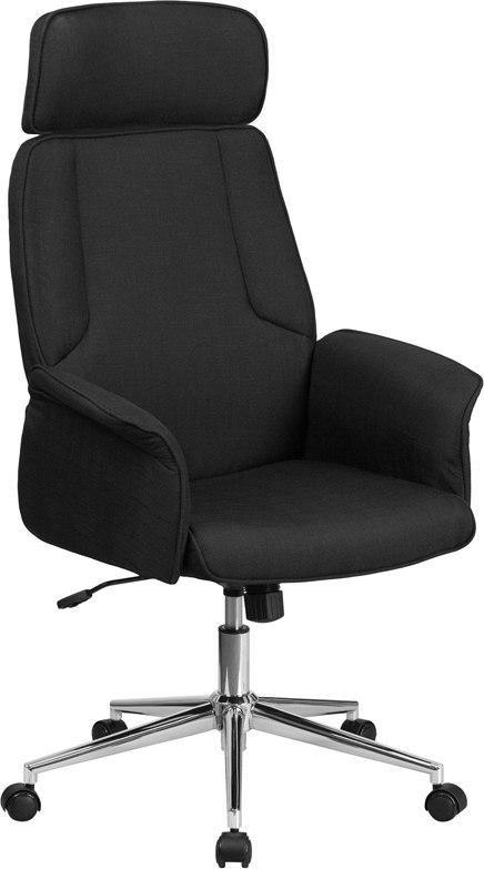 Flash Furniture CH-CX0944H-BK-GG High Back Black Fabric Executive Swivel Chair with Chrome Base and Fully Upholstered Arms