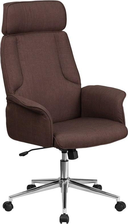 Flash Furniture CH-CX0944H-BN-GG High Back Brown Fabric Executive Swivel Chair with Chrome Base and Fully Upholstered Arms