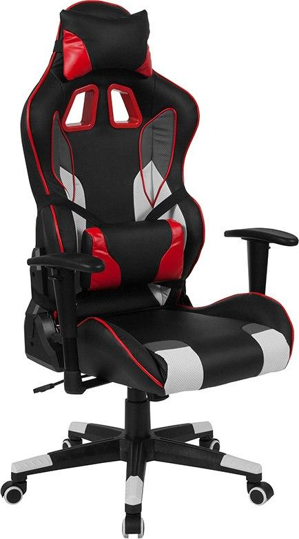 Flash Furniture CH-CX1050H-GG Cumberland Comfort Series High Back Black, White, Gray and Red Executive Reclining Racing/Gaming Swivel Chair with Lumbar Support