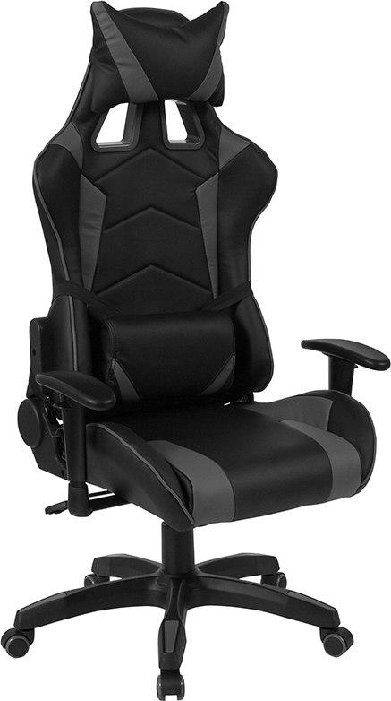 Flash Furniture CH-CX1064H-GG Cumberland Comfort Series High Back Black and Gray Executive Reclining Racing/Gaming Swivel Chair with Adjustable Lumbar Support
