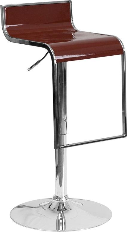 Flash Furniture CH-TC3-1027P-BURG-GG Contemporary Burgundy Plastic Adjustable Height Barstool with Chrome Drop Frame