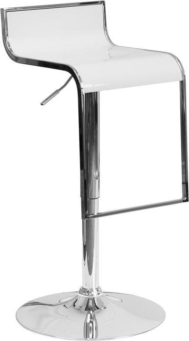 Flash Furniture CH-TC3-1027P-WH-GG Contemporary White Plastic Adjustable Height Barstool with Chrome Drop Frame