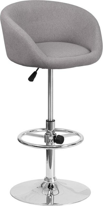 Flash Furniture CH-TC3-1066L-GYFAB-GG Contemporary Gray Fabric Adjustable Height Barstool with Chrome Base