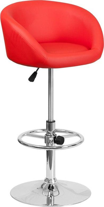 Flash Furniture CH-TC3-1066L-RED-GG Contemporary Red Vinyl Adjustable Height Barstool with Chrome Base