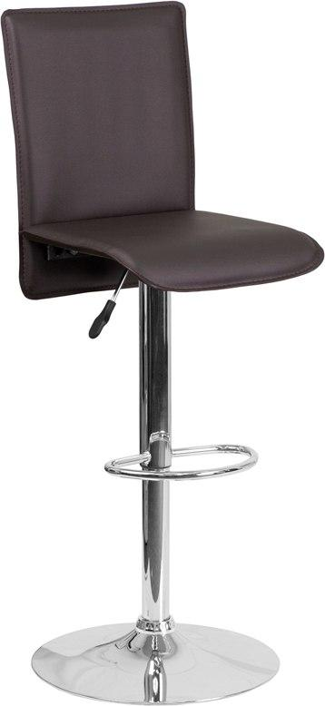 Flash Furniture CH-TC3-1206-BRN-GG Contemporary Brown Vinyl Adjustable Height Barstool with Chrome Base