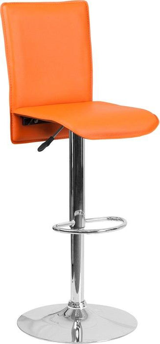 Flash Furniture CH-TC3-1206-OR-GG Contemporary Orange Vinyl Adjustable Height Barstool with Chrome Base