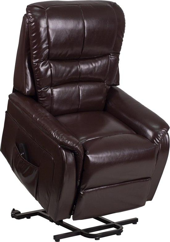 Flash Furniture CH-US-153062L-BRN-LEA-GG HERCULES Series Brown Leather Remote Powered Lift Recliner