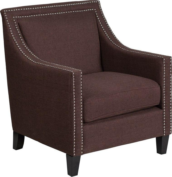 Flash Furniture CH-US-173030-BN-GG HERCULES Compass Series Transitional Brown Fabric Chair with Walnut Legs