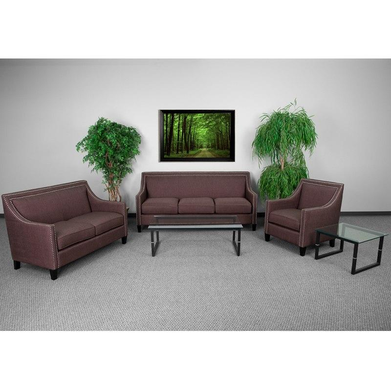 Flash Furniture CH-US-173030-SET-BN-GG HERCULES Compass Series Transitional Brown Fabric Set with Walnut Legs