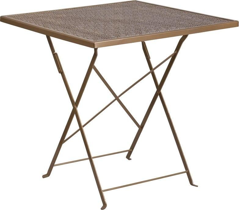 Flash Furniture CO-1-GD-GG 28'' Square Gold Indoor-Outdoor Steel Folding Patio Table