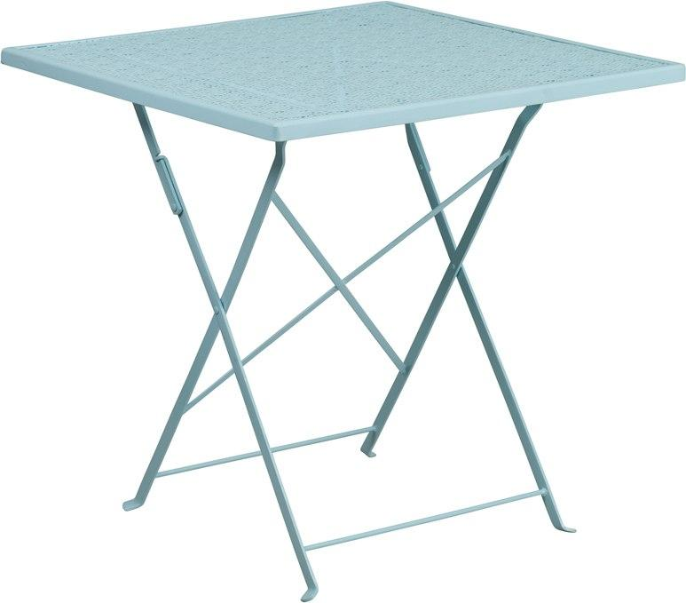 Flash Furniture CO-1-SKY-GG 28'' Square Sky Blue Indoor-Outdoor Steel Folding Patio Table
