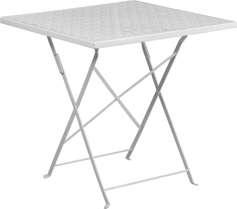 Flash Furniture CO-1-WH-GG 28'' Square White Indoor-Outdoor Steel Folding Patio Table