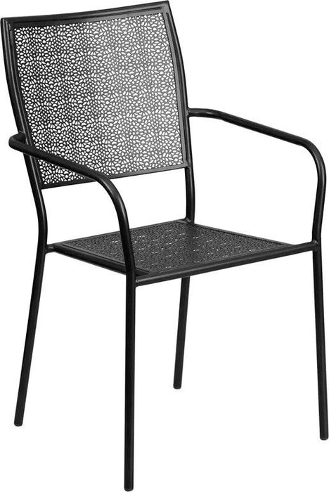 Flash Furniture CO-2-BK-GG Black Indoor-Outdoor Steel Patio Arm Chair with Square Back