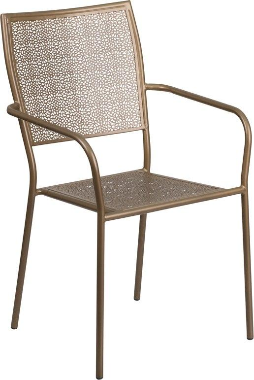 Flash Furniture CO-2-GD-GG Gold Indoor-Outdoor Steel Patio Arm Chair with Square Back