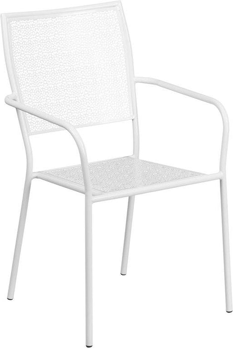 Flash Furniture CO-2-WH-GG White Indoor-Outdoor Steel Patio Arm Chair with Square Back