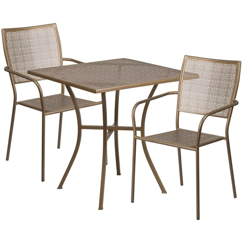 Flash Furniture CO-28SQ-02CHR2-GD-GG 28'' Square Gold Indoor-Outdoor Steel Patio Table Set with 2 Square Back Chairs