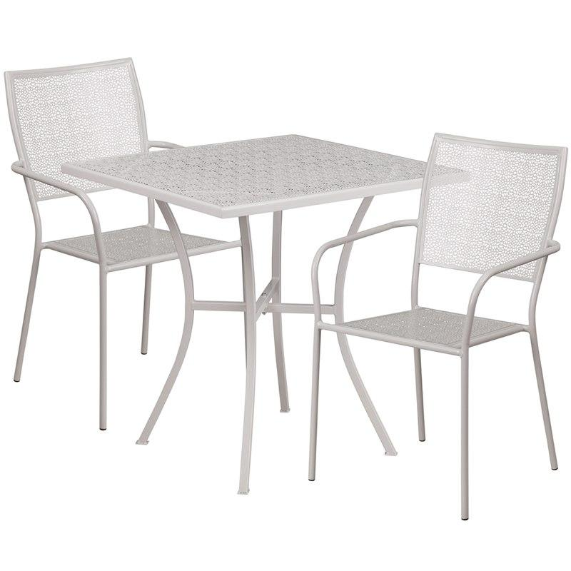 Flash Furniture CO-28SQ-02CHR2-SIL-GG 28'' Square Light Gray Indoor-Outdoor Steel Patio Table Set with 2 Square Back Chairs
