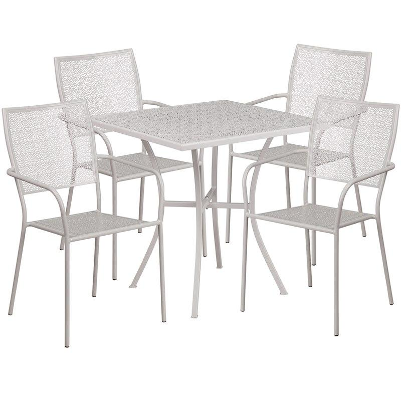 Flash Furniture CO-28SQ-02CHR4-SIL-GG 28'' Square Light Gray Indoor-Outdoor Steel Patio Table Set with 4 Square Back Chairs