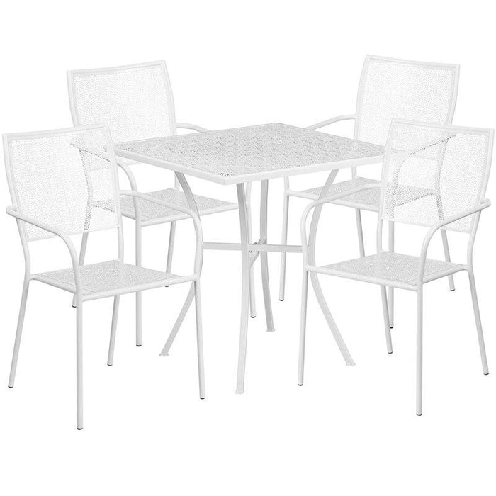 Flash Furniture CO-28SQ-02CHR4-WH-GG 28'' Square White Indoor-Outdoor Steel Patio Table Set with 4 Square Back Chairs