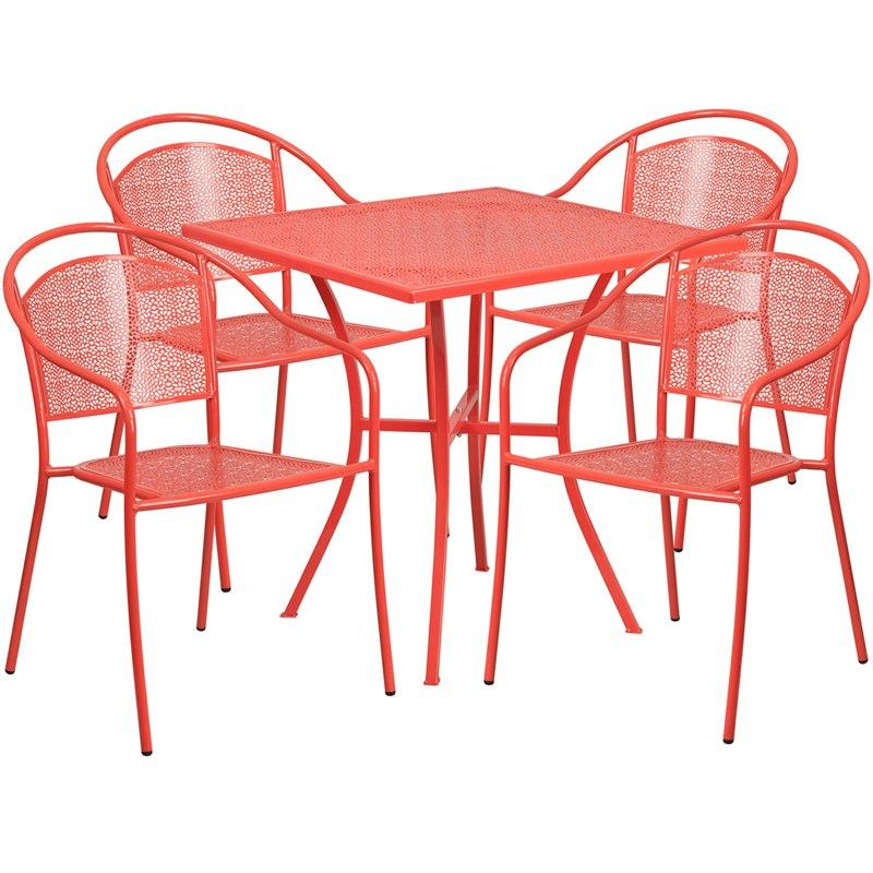 Flash Furniture CO-28SQ-03CHR4-RED-GG 28'' Square Coral Indoor-Outdoor Steel Patio Table Set with 4 Round Back Chairs